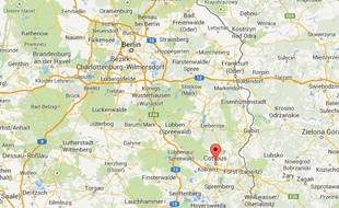 Vue Google Maps de Cottbus, dans l'est de l'Allemagne.