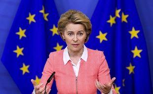 Brussels , 04/03/2020 press statement by President Ursula von der Leyen on the European Climate Law at the European commission Pix :  Ursula von der Leyen Credit : Frederic Sierakowski / Isopix//ISOPIX_25385475-008/2003041400/Credit:Frederic Sierakowski / Is/SIPA/2003041403