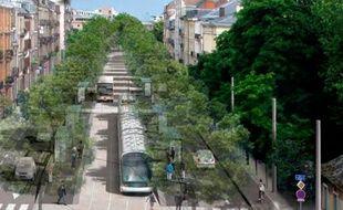 Projection tram ligne F boulevard de Nancy.