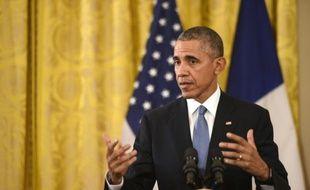 Le président américain Barack Obama, le 24 novembre 2015 à la Maison Blanche, à Washington, lors d'une conférence de presse conjointe avec le président français François Hollande