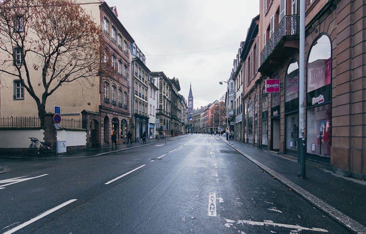La rue du la Nuée-Bleue à Strasbourg, vidée de ses voitures. – Mathieu Piranda