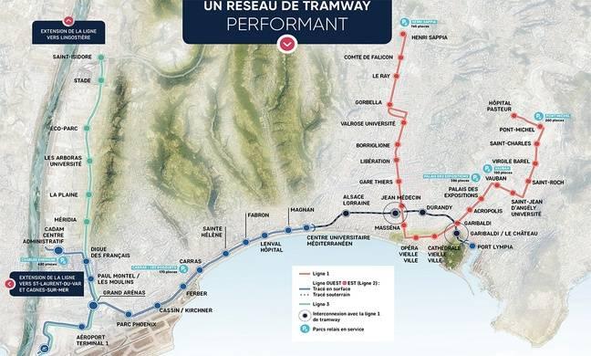 Le plan des trois lignes de tramway de Nice