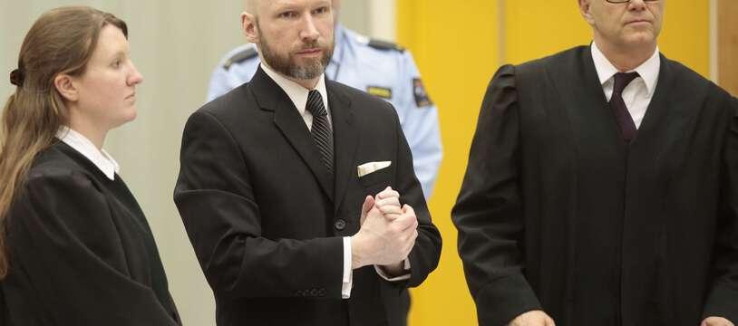 Anders Breivik, l'auteur des attentats d'Oslo et d'Utoya lors de son procès contre l'Etat norvégien en 2017.