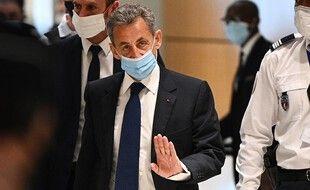 Paris, le 1er mars 2021. Nicolas Sarkozy arrive au tribunal de Paris qui va le condamner dans le cadre de l'affaire dite