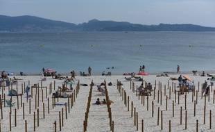 Une plage aménagée après l'épidémie de coronavirus en Espagne.