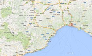 Google map de Gênes, en Italie.