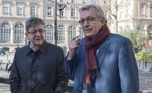 Jean-Luc Mélenchon, leader de La France insoumise, et Pierre Laurent, secrétaire national du PCF, quand ils se parlaient encore, le 24 février 2017 à Paris.