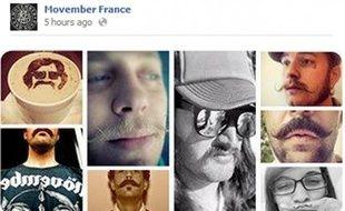 Capture d'écran du compte Facebook de Movember, qui propose de se laisser pousser la moustache au mois de novembre pour sensibiliser au cancer de la prostate.