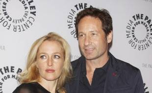 Gillian Anderson et David Duchovny lors d'une fête X-Files à New York en 2013.