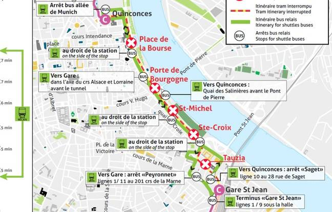 La circulation des trams de la ligne C est interrompue entre Quinconces et Gare Saint-Jean jusqu'au 19 avril inclus.