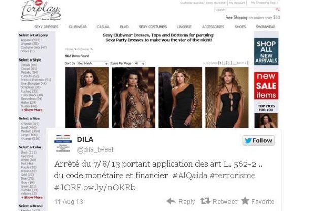 La Dila, un service de Matignon, a fait une erreur de lien dans un de ses tweets dimanche22 août 2013.