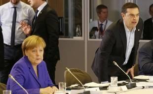Angela Merkel et Alexis Tsipras, à Bruxelles le 29 juin 2016.