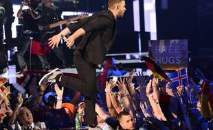 Justin Timberlake s'est produit lors de l'entracte de la finale de l'Eurovision, à Stockholm, le 14 mai 2016 à Stockholm (Suède).