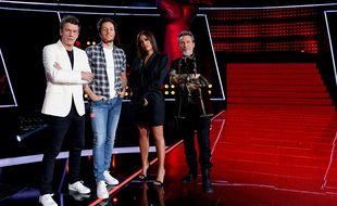 Les coachs de la saison 10 de The Voice: Marc Lavoine, Vianney, Amel Bent et Florent Pagny.