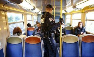 Un policier procède à des contrôles dans le RER D, le 13 octobre 2015 entre Saint-Denis et Orry-la-Ville