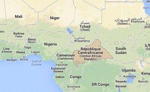 Carte indiquant où se situe la Centrafrique (en rouge).