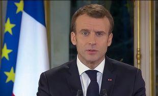 Emmanuel Macron lors de son allocution télévisée sur la crise des «gilets jaunes», le 10 décembre 2018 (capture d'écran).