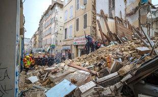 L'immeuble qui s'est effondré à Marseille le 5 novembre 2018.AFP PHOTO / BMPM/SM / Loic AEDO.