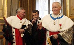 Paris, le 15 janvier 2018. Emmanuel Macron lors de l'audience solennelle de rentrée de la Cour de cassation.