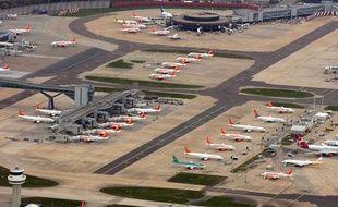 Vue aérienne de l'aéroport de Stansted, à Londres.