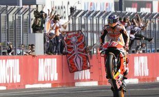 Marc Marquez, vainqueur du GP du Japon, est devenu à 25 ans le plus jeune pilote à remporter une cinquième couronne mondiale en MotoGP, le 21 octobre 2018.