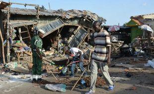 Lieu d'un attentat commis par une jeune fille qui a tué au moins 20 personnes à une station de bus de Maiduguri, dans le nord-est du Nigeria, le 22 juin 2015