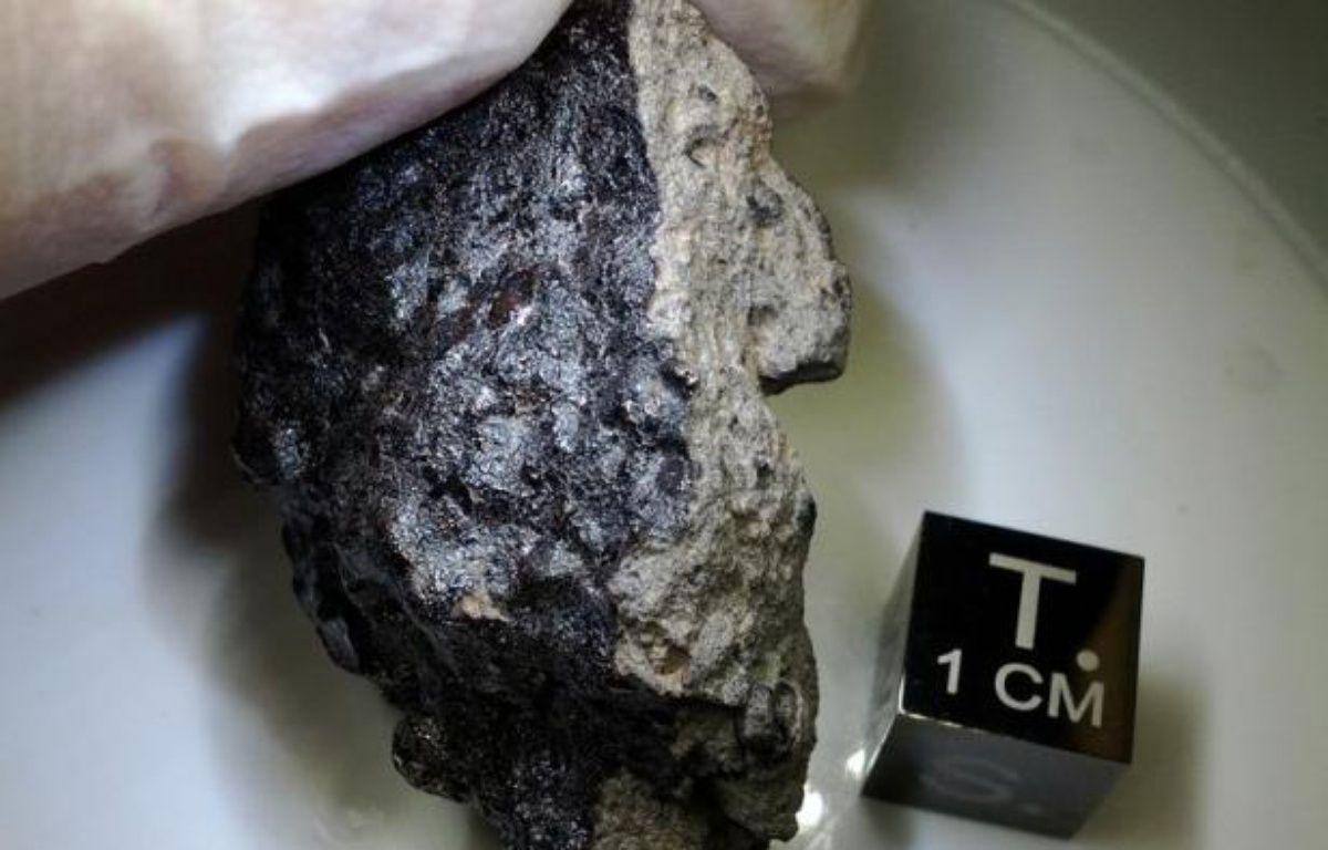 Une météorite rare de sept kilos, dont la chute a été observée au Maroc l'été dernier, vient de Mars, confirment des experts qui qualifient la découverte de précieuse tant pour la science que pour les courtiers de ces objets célestes. – Carl B. Agee afp.com