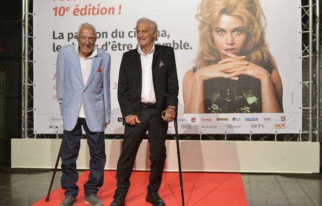 Charles Gérard et Jean-Paul Belmondo au Festival Lumière, le 13 octobre 2018.