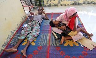 Des migrants Rohingya originaires de Birmanie dans un abri temporaire en Indonésie, le 14 mai 2015.