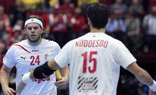 Les Danois Mikkel Hansen et Jesper Noddesbo, le 23 janvier 2011 à Malmo.