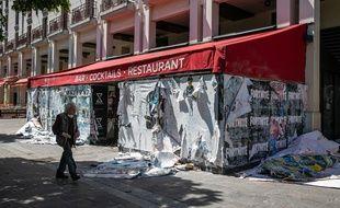 Un restaurant fermé dans le quartier des Halles à Paris, le 18 mai 2020.