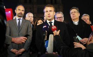Emmanuel Macron s'exprime après l'incendie qui a ravagé Notre-Dame de Paris, le 15 avril 2019.