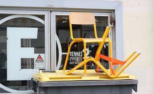 Le campus de Villejean bloqué à l'université Rennes 2. Ici le 26 avril 2018.