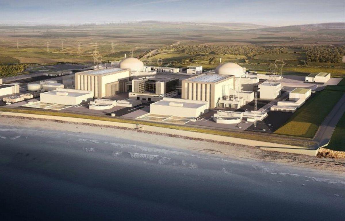 Une photo diffusée par EDF à Londres le 28 juillet 2016, montre un montage par ordinateur des deux réacteurs nucléaires du projet Hinkley Point dans le sud-ouest de l'Angleterre. – HO / EDF ENGERY