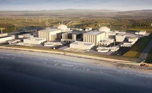Une photo diffusée par EDF à Londres le 28 juillet 2016, montre un montage par ordinateur des deux réacteurs nucléaires du projet Hinkley Point dans le sud-ouest de l'Angleterre.