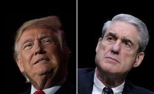 Photomontage du président américain, Donald Trump, face au procureur spécial chargé de l'enquête sur la Russie, Robert Mueller.