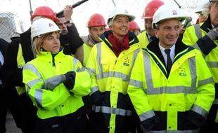 La présidente d'Areva, Anne Lauvergeon, le PDG d'EDF, Henri Proglio et la ministre de l'Economie, Chritsine Lagarde, lors de la visite de l'usine de Flamanville en novembre 2009.