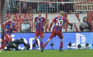 Franck Ribéry et le Bayern ont écrabouillé le Schaktar (7-0) en 8e de finale retour de Ligue des champions, le 11 mars 2015.