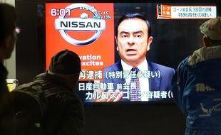 Carlos Ghosn lors d'une émission de télévision japonaise consacrée à son arrestation le 21 décembre à Tokyo.