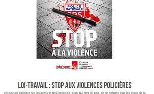 Capture de l'écran de la page de téléchargement de l'affiche de la CGT contre les violences policières sortie le 16 avril 2016 sur le site infocomcgt.fr.