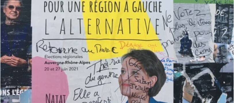 Des tags haineux et xénophobes ont été découverts sur les affiches électorales de Najat Vallaud-Belkacem à Bron.