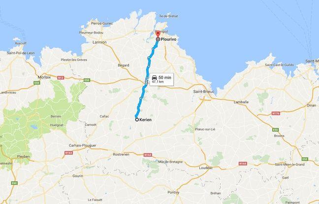 Distance entre Kerien et Plourivo