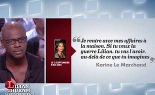 Lilian Thuram règle ses comptes avec Karine Le Marchand dans «Le Grand Journal» de Canal+, jeudi 17 octobre 2013.