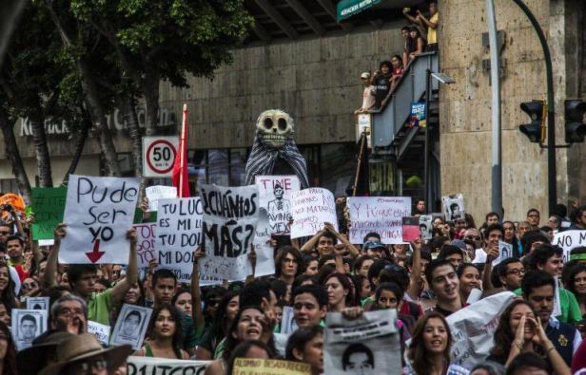 Manifestation pour obtenir justice dans la disparition de 43 étudiants, le 22 octobre 2014 à Guadalajara, au Mexique – Hector Guerrero AFP