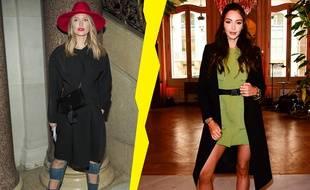 Caroline Receveur et Nabilla Benattia pendant la Fashion Week.
