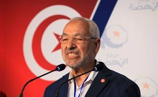 Rached Ghannouchi, président du mouvement Ennahda, lors du 10e congrès du parti, le 23 mai 2015 à Hammamet.