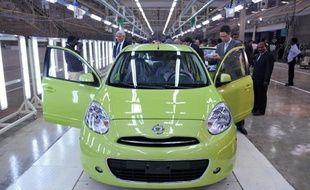 Une Micra de Nissan dans une usine Renault/Nissan, à Madras, en Inde, le 17 mars 2010
