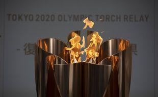 La flamme olympique à Fukushima le 24 mars 2021, à la veille de son premier relais.