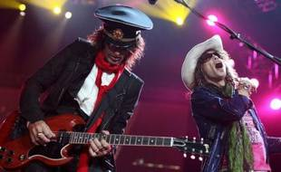 Joe Perry (G) et Steven Tyler du groupe Aerosmith en concert à Chicago, le 24 septembre 2007.