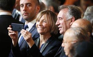 La vice présidente du MoDem, Marielle de Sarnez et François Bayrou, président du parti lors de la cérémonie d'investiture d'Emmanuel Macron dans la salle des fêtes de l'Elysée, à Paris le 14 mai 2017.